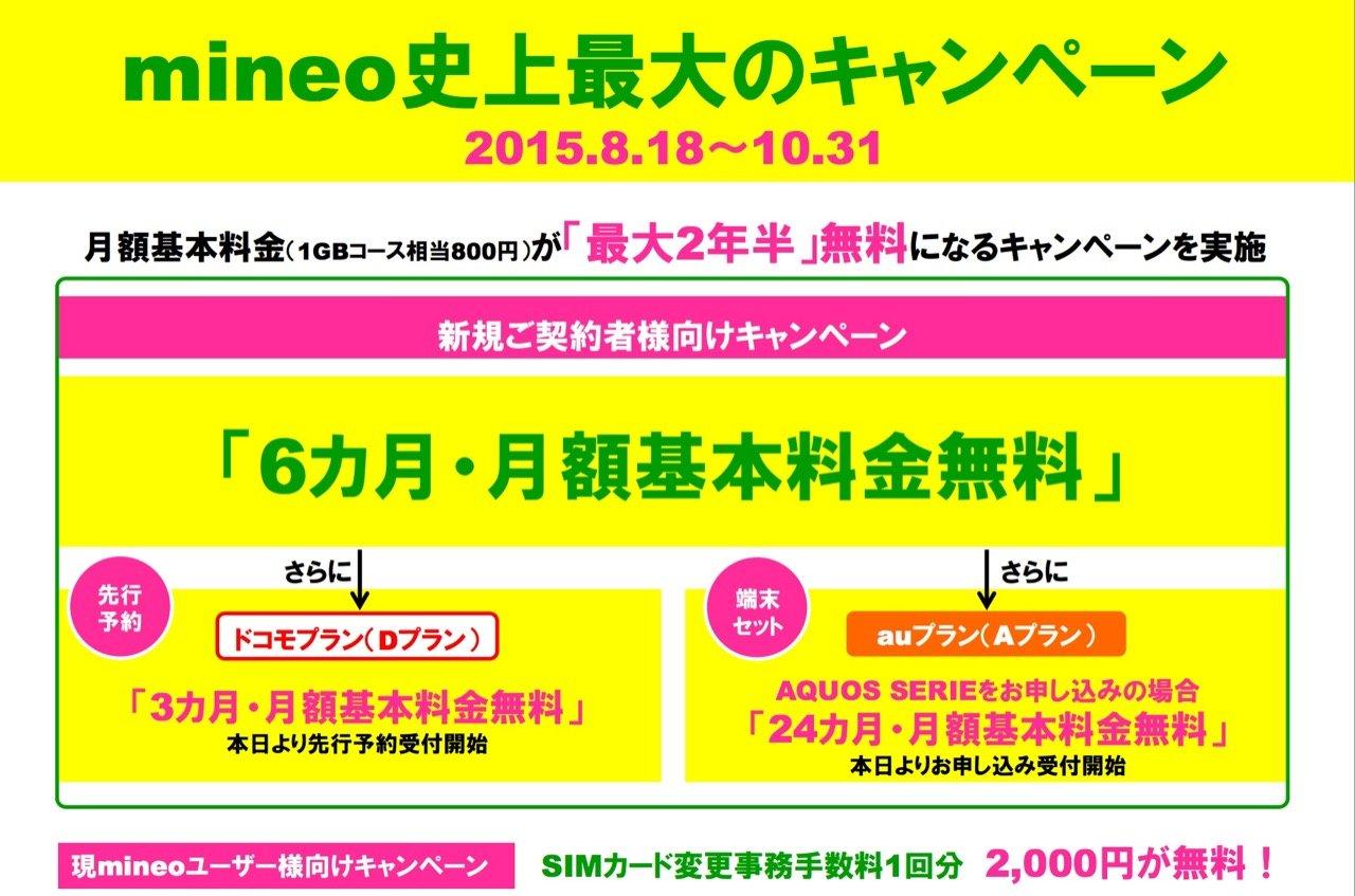 mineo、ドコモプランを9月1日から提供――6ヶ月無料になるキャンペーンも